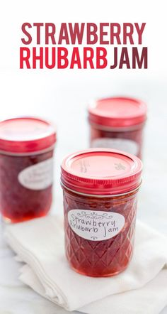 This Jam Wholefully is a better for your Breakfast made with wholesome ingredients! Dairy, gluten, grain free and paleo too!, Our strawberry rhubarb jam Recipes very delicious, we can try to make this Rhubarb Jelly, Strawberry Rhubarb Jam, Strawberry Recipes, Rhubarb Preserves, Strawberry Jello, Oxtail Recipes, Cooker Recipes, Jam And Jelly, Jelly Recipes