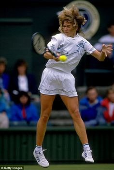 One of the greatest tennis players of all time here, Steffi Graf, in action during Wimbledon in 1988. Graf won seven Wimbledon titles, and her first came this year, as she beat the legendary Martina Navratilova in the final. That year was in fact the finest of her career, with Graf winning all four Grand Slam titles and the Olympic singles titles at the Seoul Games. The press called it a 'Golden Slam'