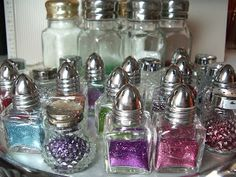 Glitter in salt shakers - kids would love this and it looks so pretty too!  fun for a party craft