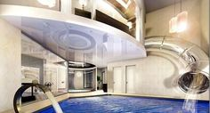 Pool with slide inside the house! say what!?!?!?!?!?!!!