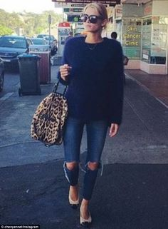 Chic: Cheyenne Tozzi still looked glam on her dressed down day as she went to get a manicu...