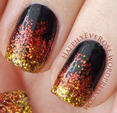 Catching Fire glitter gradient fire nail art design katniss peeta hunger games