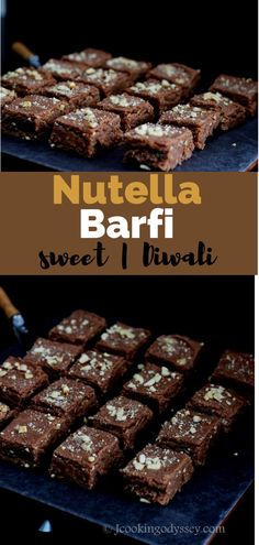 indian food An Indian favourite dessert barfi made with Nutella reminds you of chocolate fudge. Indian Dessert Recipes, Indian Sweets, Sweets Recipes, Diwali Recipes, Healthy Indian Recipes, Indian Foods, Cheese Recipes, Delicious Recipes, Nutella Brownies