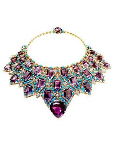 Amethyst and turquoise bib necklace. Formerly owned by Wallace Simpson, the Duchess of Windsor. / The colors are to die for! #jewelry