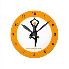 Yoga tree pose custom orange black wall clock.  #yoga, #treepose, #wallclcok, #yogagifts  See more tennis gifts here http://www.zazzle.com/sports_gifts/products/cg-196181571095549222?rf=238228936251904937&CMPN=zBookmarklet