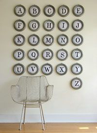 typewriter key wall art.  Could also be arranged according to the keyboard!