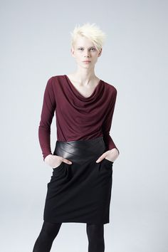 PJ 13410 The Lora Skirt - $300 by Heike Jarick   this shapely skirt has a unique wait detail in lambskin and will be great addition to your wardrobe   #Skirts