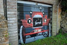 Old Ford Car Painted On A Garage Door Inlandempire Sunriseford Southerncalifornia Fence