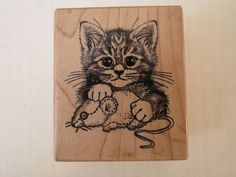 """PSX Rubber Stamp """"Kitten Playing with Toy Mouse"""" Cat Kitty Tiger E 1249 