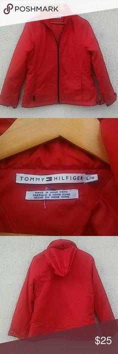 💋Tommy Hilfiger💋 jacket plastic soft unisex Tommy Hilfiger red hoodie jacket Jackets & Coats Raincoats