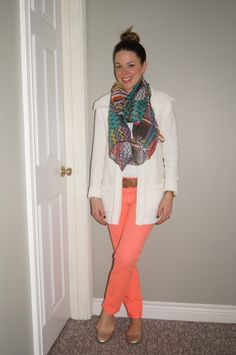 Cute Easter Outfit ~ Coral Jeans, Print Scarf & Cream Cardigan ~   http://sextoninthecity.ca/easter-jeans/