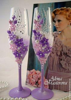 """Купить Свадебные бокалы, коллекция """" Вальс цветов"""" - розовый, свадьба в розовом цвете"""