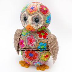 Aloysius the African Flower Owlet Crochet Pattern by heidibears, $6.50