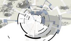 circular architecture plan - Google Search Library Architecture, Architecture Panel, Architecture Portfolio, Concept Architecture, Architecture Design, Round Building, Tower Building, Building Design, Circular Buildings