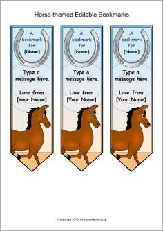 Editable horse-themed bookmarks (SB10138) - SparkleBox