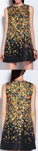 Embellished Printed Shift Dress
