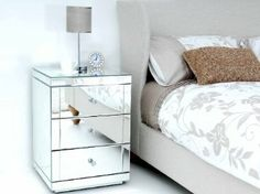 glass bedside table. Mirrored Furniture Bedside Table Cabinet 3 Drawers - (Chelsea Range)- LUCIA: Amazon Glass B