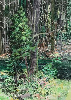 """Bryn Craig - """"Truckee River"""" Watercolor on paper 15 x 10½ inches 2006 #art #exhibition #woods #river #Oakland #artist #San Rafael #painting"""