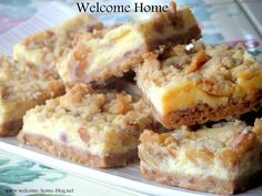 Walnut Cheesecake Bars http://www.welcome-home-blog.net/2013/10/walnut-cheesecake-bars.html