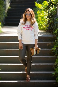 3.14 casual saturdays (Isabel Marant etoile sweatshirt + GAP striped tee + Madewell leather pants + Stuart Weitzman sandals + Clare V clutch + Illesteva sunnies)