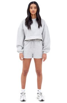 Jordan Outfits Womens, Grey Sweatshirt, Style Guides, White Shorts, Fitness Models, Cute Outfits, Women Wear, Nordstrom, Clothes For Women