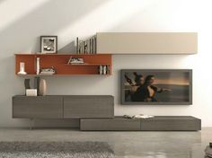 Sectional wall-mounted TV wall system I-modulArt - 278 by Presotto Industrie Mobili design Pierangelo Sciuto Small House Living, Living Room Modern, Tv Design, Interior Design, Support Tv, Wall Unit Designs, Wall Storage Systems, Entertainment Wall Units, Wall Mounted Tv