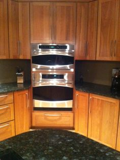 Corner wall oven cabinet google search for Eye level oven kitchen designs