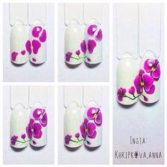 Photo Tape Nail Art, Gel Nail Art, Flower Nail Designs, Flower Nail Art, Nail Polish Designs, Nail Art Designs, Orchid Nails, Sculpted Gel Nails, One Stroke Nails