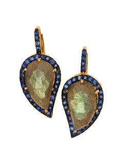 Phillips Frankel 14k Yellow Gold, Labradorite and Sapphire Leaf Earrings at London Jewelers!