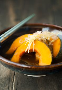 Japanese food: Kabocha Nimono - Pumpkin in dashi broth Japanese pumpkins are the most delicious I've ever tasted!