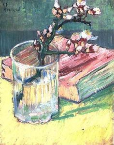 Vincent - Blossoming Almond Branch in a Glass with a Book). Arles 1888.