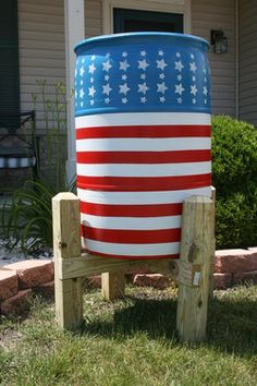 old glory rain barrel...love the stand!