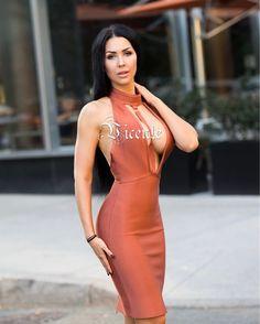 Free Shipping! 2017 New Fashion Sexy Deep Plunge Key Hole Halter Party  Celebrity Women Wholesale Bandage Dress 4f41a809e