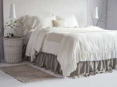 100% Linen Luxury French Vintage Ruffled Duvet Cover & by BeaLinen
