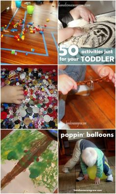 A Birthday Party, 50 toddler activities, busy play ideas on It's Playtime, Pop Can Tabs, Symmetry Art, and popping some balloons.