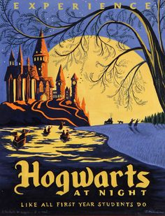 Hogwarts at Night by Caroline Hadilaksono #harrypotter