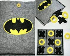 This felt Batman TIC TAC TOE game set is the perfect gift for all boys that love Superheros! This TIC TAC TOE game set is all handmade with Gifts For Boys, Toys For Boys, Kids Boys, Sewing For Kids, Diy For Kids, Felt Games, Sewing Crafts, Sewing Projects, Sewing Ideas