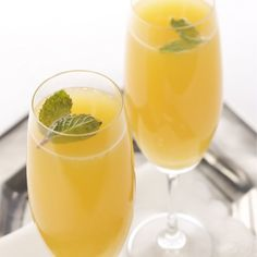 Twist on the classic Mimosa recipe: Add Grand Marnier, a squeeze of lemon and a bit of mint.