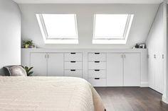 Attic Bedroom Storage, Attic Master Bedroom, Attic Bedroom Designs, Loft Storage, Upstairs Bedroom, Attic Rooms, Room Ideas Bedroom, Bedroom Loft, Home Decor Bedroom