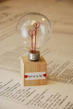 "This would have been adorable for Vday... its a hollowed out light bulb. ""light of my life"""