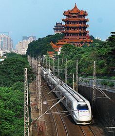 CRH2A highspeed train was running under Yellow Crane Tower, Wuhan