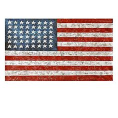 USA Flag Paintings on Canvas Picture Wall Art for Living Room Home Decor Printed Stretched Framed Ready to Hang (24L x 16W)