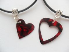 Red Guitar pick necklace his and her's heart set by absolutemarket, $7.20