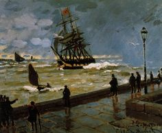 The Jetty at Le Havre, Bad Weather by Claude Monet in oil on canvas, done in Now in a private collection. Find a fine art print of this Claude Monet painting. Pierre Auguste Renoir, Claude Monet, Monet Paintings, Landscape Paintings, Artist Monet, Art Japonais, Le Havre, Edgar Degas, Impressionist Paintings