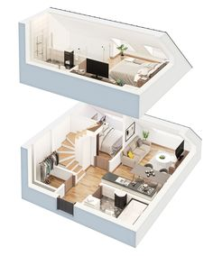 Here are couple fresh 3D apartments done for Eika, Basanavi�iaus 9A, Vilnius (we did 7 floor plans for top floor at all)