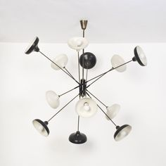 Angelo Lelli; Enameled Aluminum and Brass Ceiling Light for Arredoluce, 1950s.