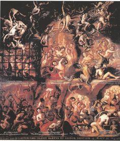 """""""Las penas del infierno""""-Anónimo durante el siglo XVII. Son personajes aterrorizantes, hay oscuridad, elementos característicos de la Edad Media."""