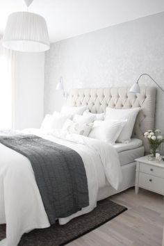 White And Grey Master Bedroom Interior Design Ideas Bedroom Inspo, Bedroom Decor, Bedroom Ideas, Bedroom Bed, Bedroom Inspiration, Warm Bedroom, Master Bedrooms, Design Bedroom, Modern Bedroom