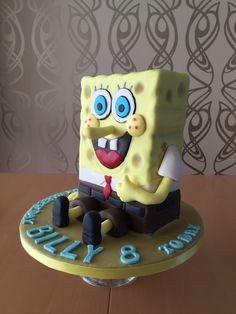 SpongeBob cake Boy Birthday Parties, 7th Birthday, Birthday Cakes, Sponge Bob, Flower Cakes, Spongebob Squarepants, Masking, Cake Creations, Baking Ideas