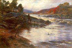 Biography Joseph Farquharson | Joseph Farquharson - Salmon Fishing on the Dee